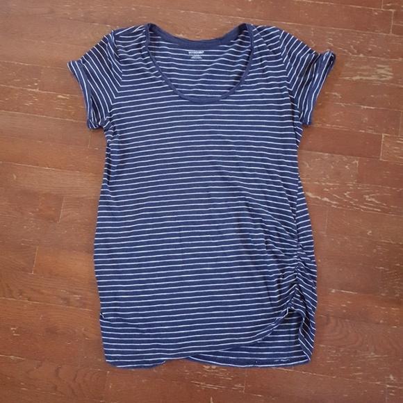 c569f9d7da98c Motherhood Maternity Striped Side Ruched Tee. M_5ac102c446aa7c9c3950bec0